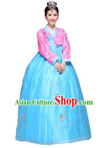 Korean Bride Dress Wedding Clothes Traditional Costumes Korean Full Dress Formal Attire Ceremonial Dress Court Stage Dancing