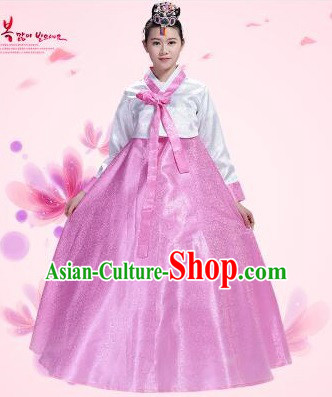 Korean Traditional Costumes Bride Dress Wedding Clothes Korean Full Dress Formal Attire Ceremonial Dress Court Stage Dancing White Top Pink Skirt