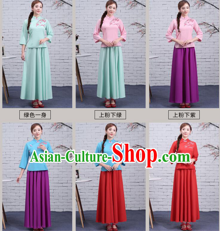 Chinese Traditional Dress Min Guo Time Girl Clothes Nobel Lades Stage costumes Ladies