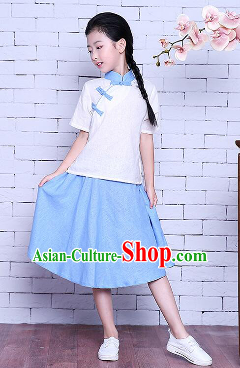 Girl Dress Chinese Traditional Clothes Stage Ceremonial Costumes Kid Show Ancient Wearing Women White Top Blue Skirt Summer