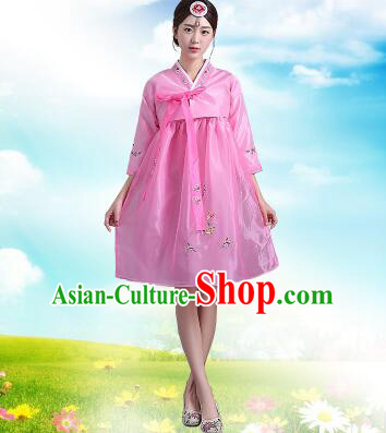 Korean Traditional Dress Women Costumes Bride Dress Clothes Korean Full Dress Formal Attire Ceremonial Dress Court Stage Dancing Pink Top Pink Skirt