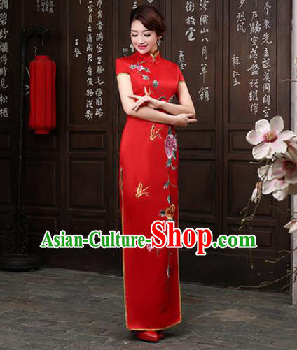 Ancient Chinese Costumes, Manchu Clothing Qipao, Retro Silk Long Embroidered Cheongsam, Traditional Red Fish Tail Cheongsam Wedding Toast Dress for Bride