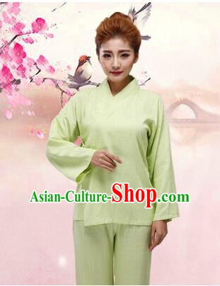 Chinese Zhong Yi triung qioi Ancient Clothes Inner Under Clothes Robe Pants Men Women Sleeping Exercise Costume Green