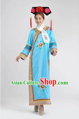 Qipao Qing Dynasty Clothing Empresses in the Palace Qing Chuang Stage Costumes Blue