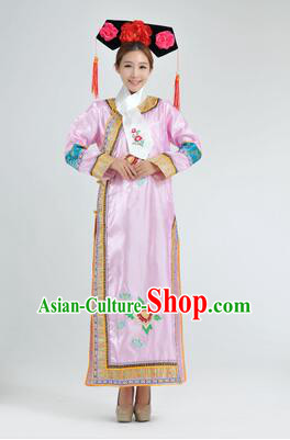 Qipao Qing Dynasty Clothing Empresses in the Palace Qing Chuang Stage Costumes Pink