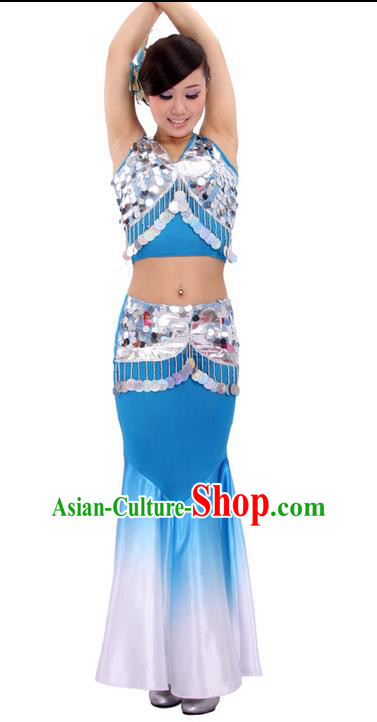 Traditional Chinese Dai nationality Peacock Dancing Costume, Folk Dance Ethnic Fish Tail Costume, Chinese Minority Nationality Dancing Costume for Women