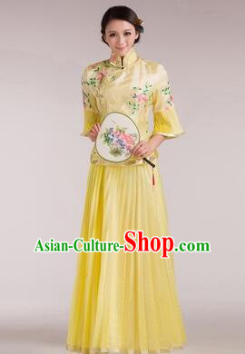 Min Guo Girl Dress Chinese Traditional Costume Stage Show Ceremonial Dress Yellow