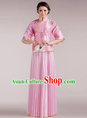 Min Guo Girl Dress Chinese Traditional Costume Stage Show Ceremonial Dress Pink