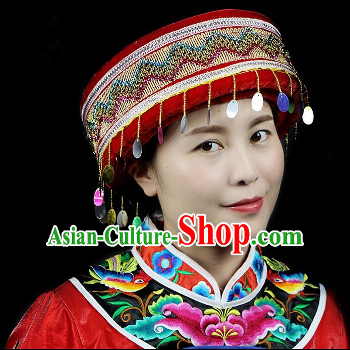 Chinese Traditional Miao Minority Hmong Folk Ethnic Hat, Embroidery Bell Hat for Women