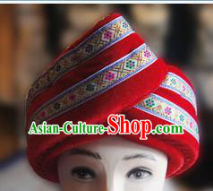 Chinese Traditional Miao Minority Hmong Folk Ethnic Hat, Tujia Minority Embroidery Hat for Men