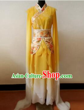 Chinese Traditional Costume Empresses in the Palace Water Sleeves Qi Xian nv Dancing Clothes Jing Hong Yellow