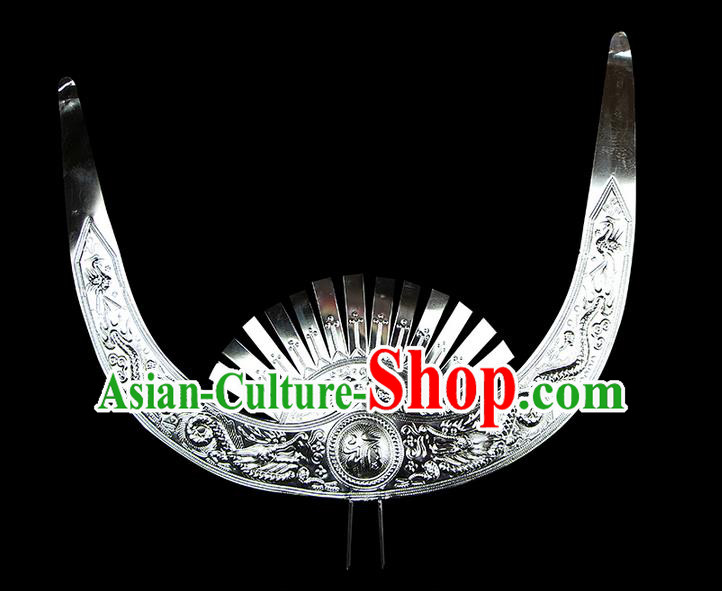 Chinese Traditional Miao Minority Hmong Folk Ethnic Ox Horn Crown, Silver Headwear, Miao Jewelry Accessories for Women