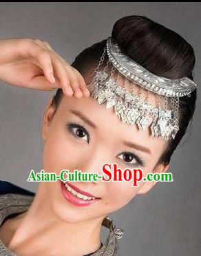 Chinese Traditional Miao Minority Hmong Folk Ethnic Hair Comb, Silver Headwear, Miao Jewelry Accessories Hairpin for Women