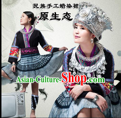 Traditional Chinese Miao Nationality Dancing Costume, Hmong Female Folk Dance Ethnic Pleated Skirt, Chinese Tujia Minority Nationality Embroidery Costume for Women