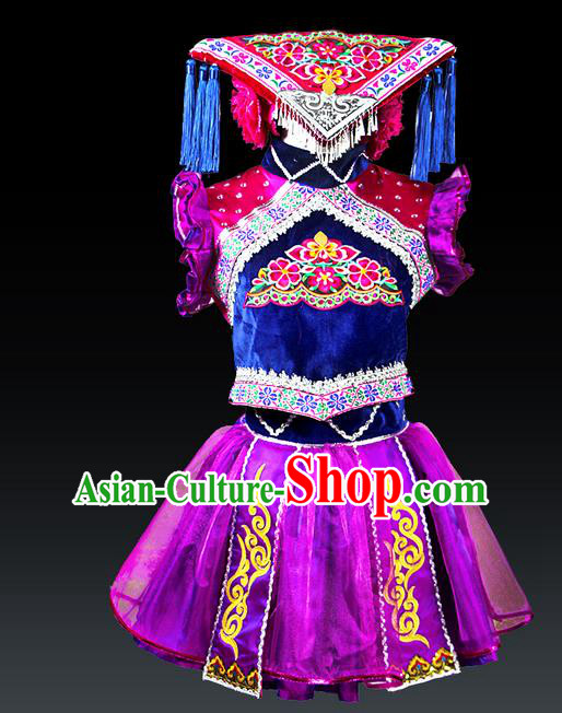 Traditional Chinese Tujia Nationality Dancing Costume Set, Hmong Female Folk Dance Ethnic Pleated Skirt and Hat, Chinese Zhuang Minority Nationality Embroidery Costume for Women