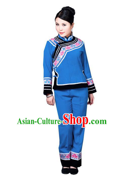 Traditional Chinese Miao Nationality Dancing Costume, Hmong Female Folk Dance Ethnic Dress, Chinese Tujia Minority Nationality Embroidery Costume for Women