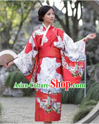 Japanese Traditional Costumes Kimono Tomesode Stage Show Wafuku Aristolochia ringens Tomesode Full Dress Red