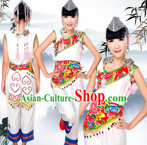 Traditional Chinese Yi Nationality Dancing Costume, Yizu Female Folk Dance Ethnic Dress, Chinese Yi Minority Nationality Embroidery Costume for Women