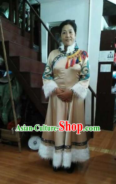 Traditional Chinese Oroqen Nationality Dancing Costume, Oroqenzu Female Folk Dance Ethnic Sealand Karp Pleated Skirt, Chinese Minority Oroqen Nationality Embroidery Costume for Women