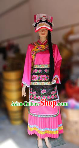 Traditional Chinese Qiang Nationality Dancing Costume, Qiangzu Female Folk Dance Ethnic Sealand Karp Pleated Skirt, Chinese Minority Qiang Nationality Embroidery Costume for Women