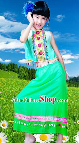 Traditional Chinese Dai Nationality Girls Peacock Dancing Costume, Children Folk Dance Ethnic Costume, Chinese Minority Nationality Dancing Costume for Kids