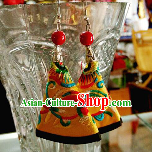 Traditional Chinese Miao Nationality Earrings, Hmong Female Folk Wedding Embroidery Earrings, Chinese Minority Nationality Jewelry Accessories for Women