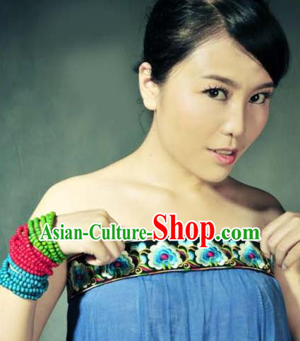 Traditional Chinese Miao Nationality Belts, Hmong Female Folk Wedding Embroidery Belt, Chinese Minority Nationality Jewelry Accessories for Women