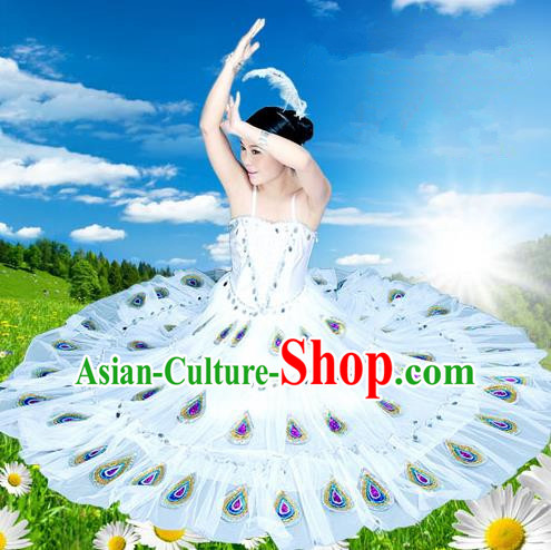 Traditional Chinese Dai Nationality Peacock Dancing Costume, Folk Dance Ethnic Costume, Chinese Minority Nationality Dancing Costume for Women