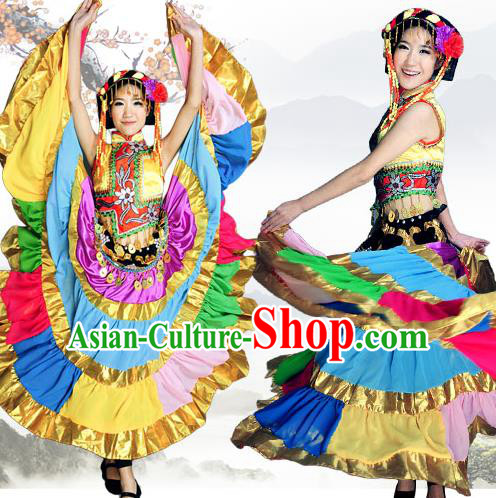 Traditional Chinese Yi Nationality Dancing Costume, Yizu Female Folk Dance Ethnic Pleated Skirt, Chinese Minority Yi Nationality Embroidery Costume for Women