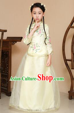 Chinese Traditional Dress for Children Girl Kid Min Guo Clothes Ancient Chinese Costume Stage Show Yellow