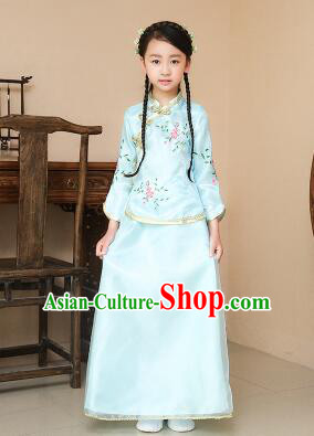 Chinese Traditional Dress for Children Girl Kid Min Guo Clothes Ancient Chinese Costume Stage Show Blue