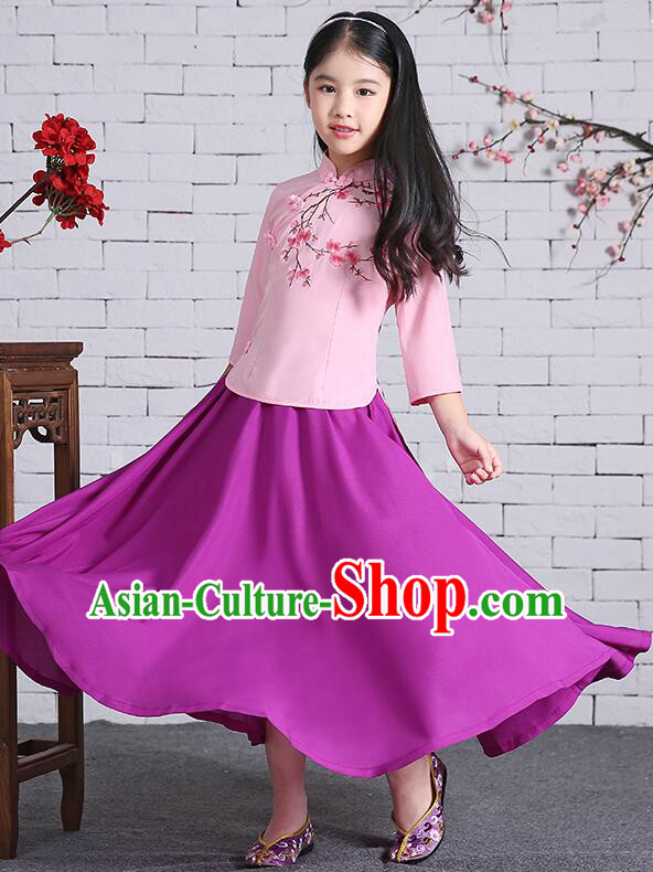 Chinese Traditional Dress for Girls Long Sleeves Kid Children Min Guo Clothes Ancient Chinese Costume Stage Show Pink Top Purple Skirt