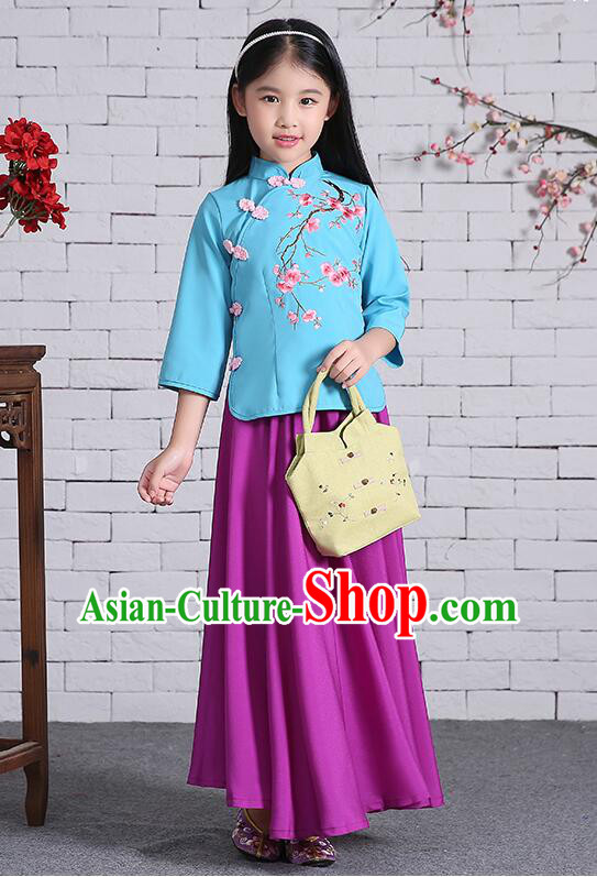Chinese Traditional Dress for Girls Long Sleeves Kid Children Min Guo Clothes Ancient Chinese Costume Stage Show Blue Top Purple Skirt