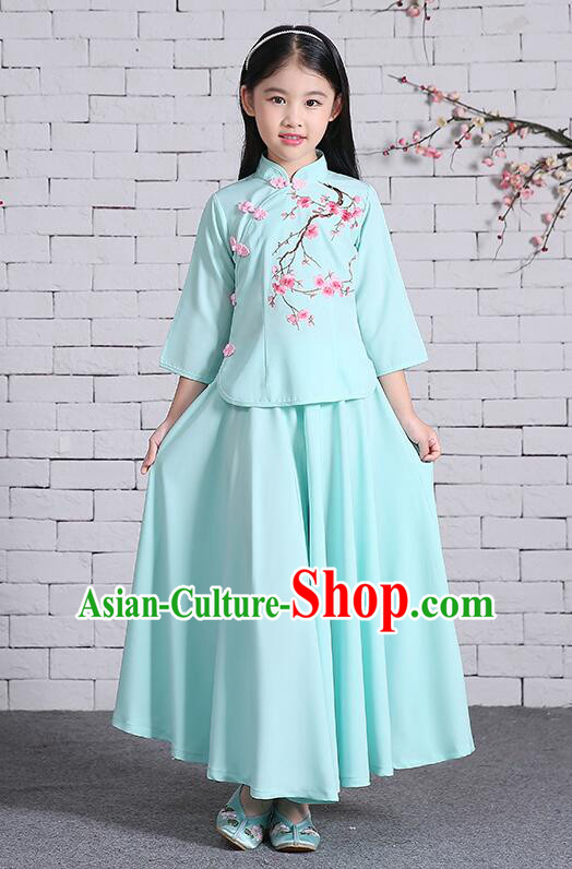 Chinese Traditional Dress for Girls Long Sleeves Kid Children Min Guo Clothes Ancient Chinese Costume Stage Show Blue