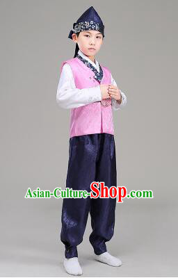 Korean Traditional Dress For Boys Children Clothes Kid Costume Stage Show Dancing Halloween Pink Top Blue Pants