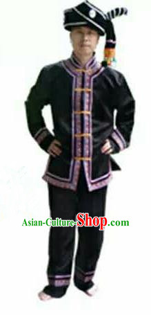 Traditional Chinese Miao Nationality Dancing Costume, Hmong Male Folk Dance Ethnic Dress, Chinese Minority Tujia Nationality Embroidery Costume Set for Men