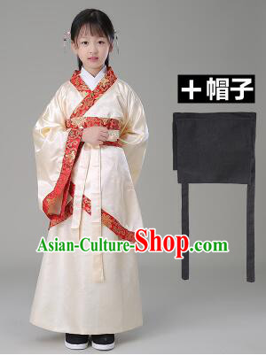 Traditional Chinese Dress Girls Han Fu Han Dynasty Clothes RuQun Children Kid Stage Show Ceremonial Costumes Beige
