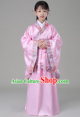 Traditional Chinese Dress Girls Han Fu Han Dynasty Clothes RuQun Children Kid Stage Show Ceremonial Costumes Pink
