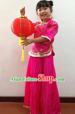 Min Guo Girl Dress Traditional Chinese Clothes Ancient Costume Tang Suit Children Kid Show Stage Wearing Dancing Rose Red
