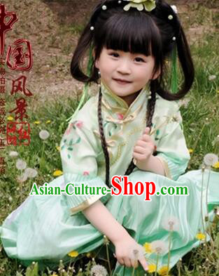 Min Guo Girl Dress Traditional Chinese Clothes Ancient Costume Tang Suit Children Kid Show Stage Wearing Dancing Green