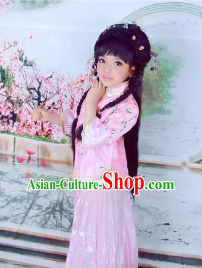 Min Guo Girl Dress Traditional Chinese Clothes Ancient Costume Tang Suit Children Kid Show Stage Wearing Dancing Pink
