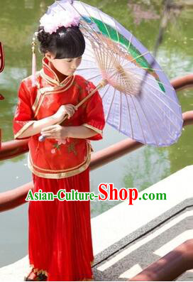 Min Guo Girl Dress Traditional Chinese Clothes Ancient Costume Tang Suit Children Kid Show Stage Wearing Dancing Red