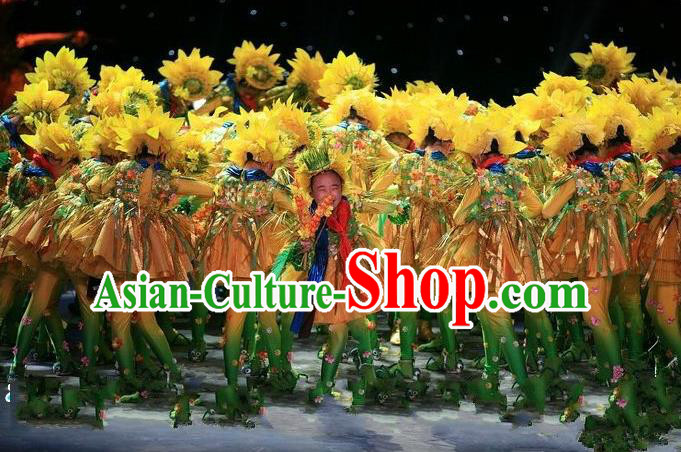 Traditional Chinese Yangge Fan Dancing Costume, Children Folk Dance Yangko Costume for Kids