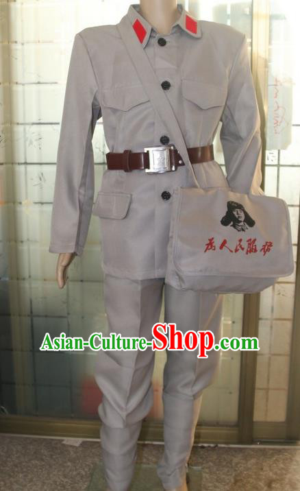 Traditional Chinese Eighth Route Army Costume, Chinese New Fourth Armmy Chorus Performance Costume for Women