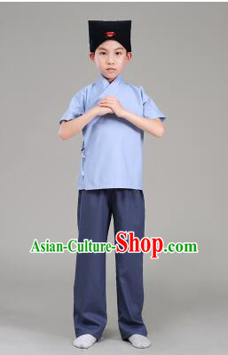 Han Fu For Children Chinese Traditional Dress Short Sleeves Stage Show Ceremonial Costumes Blue