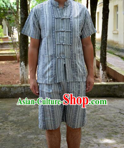 Traditional Asian Thai Male T-shirt, Thai Clothes Signature Cotton Shirt for Men