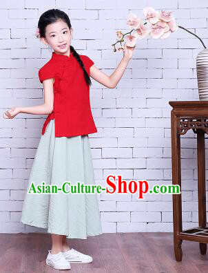 Girl Dress Min Guo Fan Fu Style Chinese Traditional Stage Costume Show Clothes Short Sleeves Red Top Green Skirt
