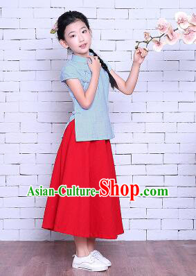 Girl Dress Min Guo Fan Fu Style Chinese Traditional Stage Costume Show Clothes Short Sleeves Blue Top Red Skirt