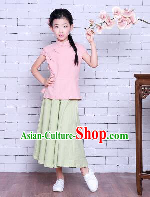 Girl Dress Min Guo Fan Fu Style Chinese Traditional Stage Costume Show Clothes Short Sleeves Pink Top Green Skirt