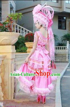 Traditional Chinese Miao Nationality Improved Costume, Hmong Luxury Female Folk Dance Ethnic Pleated Long Skirt, Chinese Minority Nationality Embroidery Costume for Women
